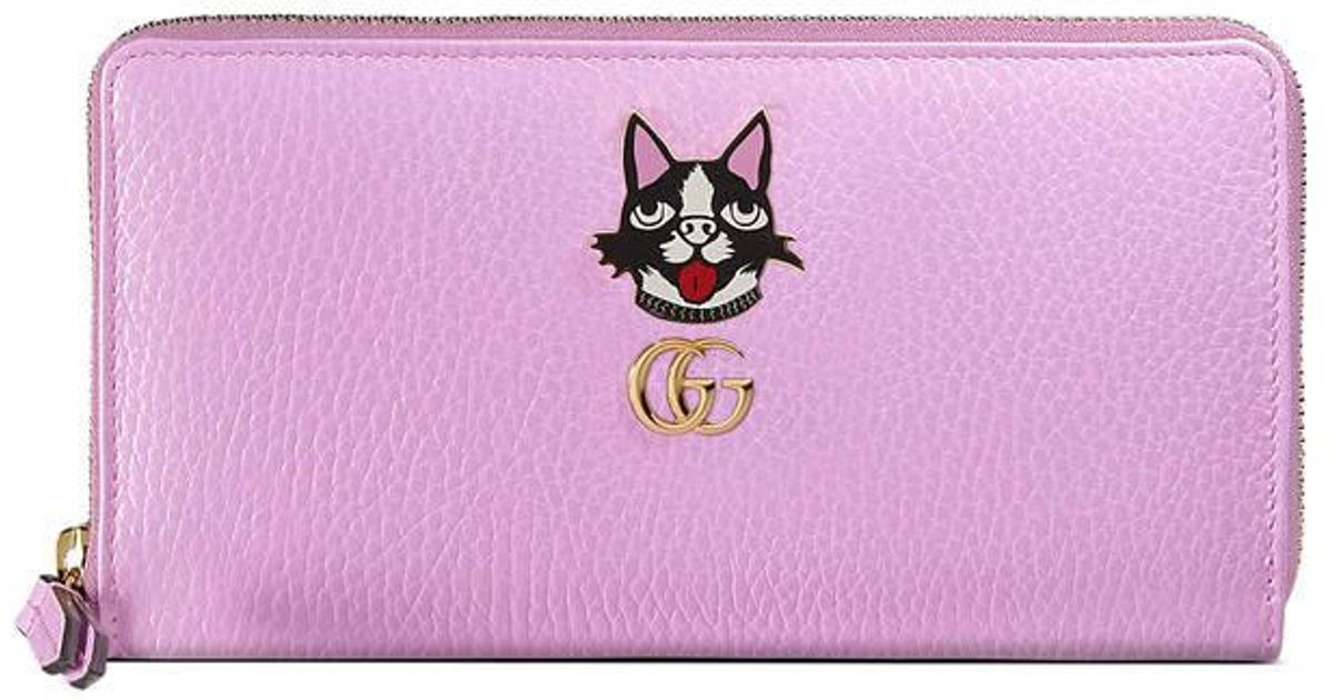 c4a5b5489d52 Gucci Leather Zip Around Wallet With Bosco in Purple - Lyst