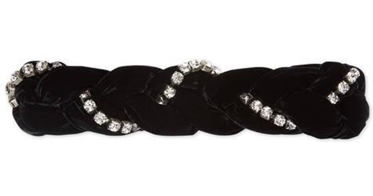 Crystal-embellished braided-velvet headband Gucci WD6DN
