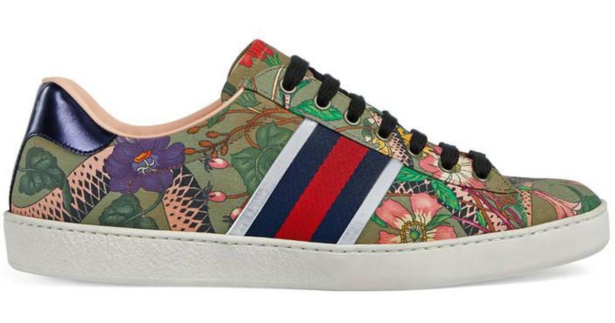 9d4bdb759 Gucci Flora Snake Sneaker for Men - Lyst