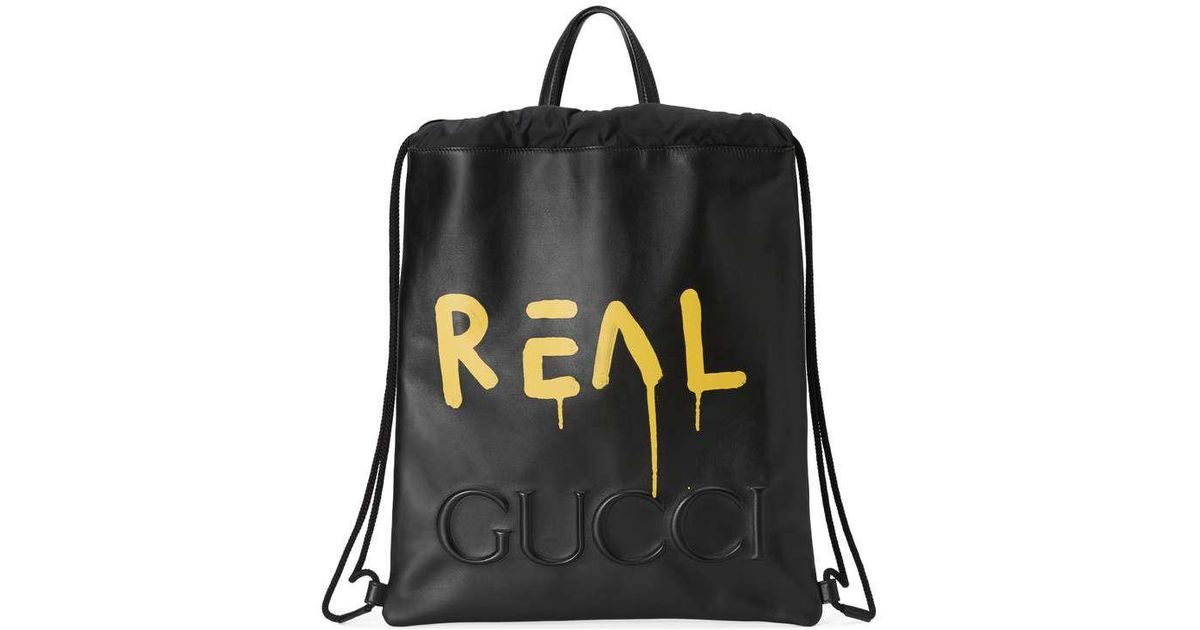 3b5e1ab7859e Gucci Ghost Drawstring Backpack in Black for Men - Lyst