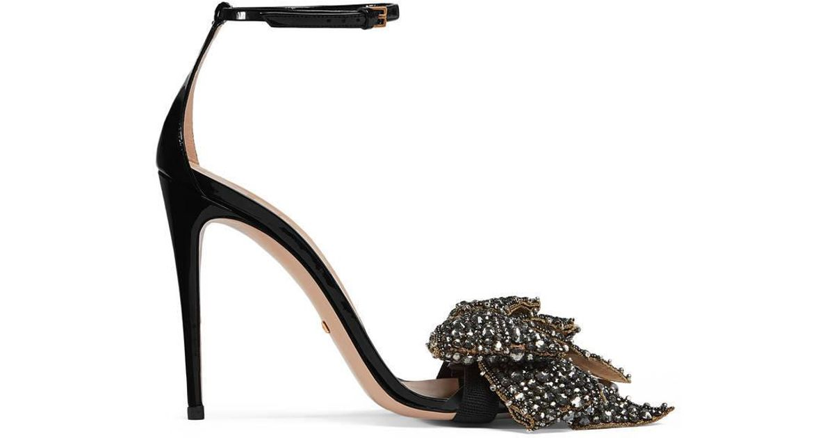 c2d45cb2853 Lyst - Gucci Patent Leather Sandal With Removable Crystal Bow in Black