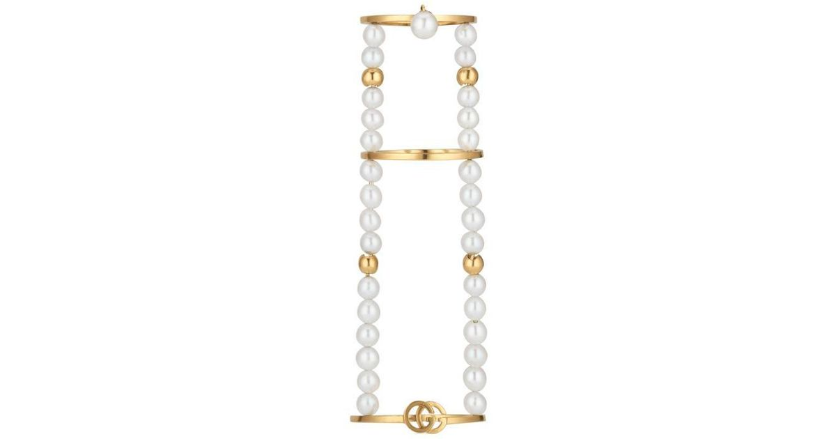 6bb3e27da Lyst - Gucci Gg Running Chain Ring With Pearls in White