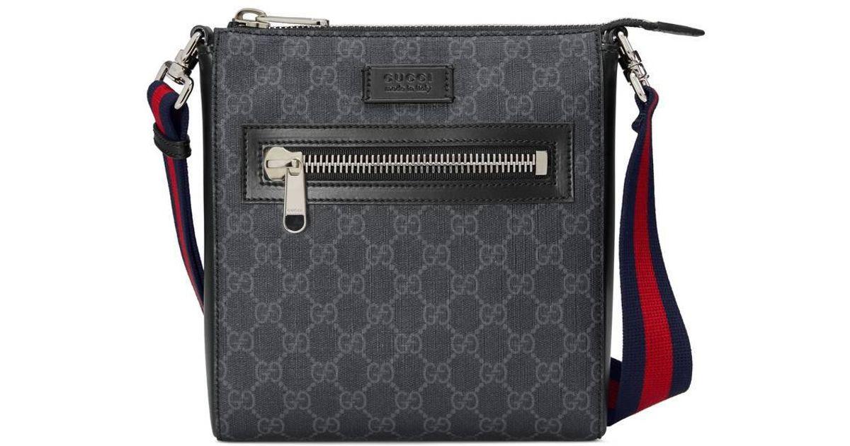 af92114821b9e6 Gucci GG Supreme Small Messenger Bag in Black for Men - Save 15% - Lyst
