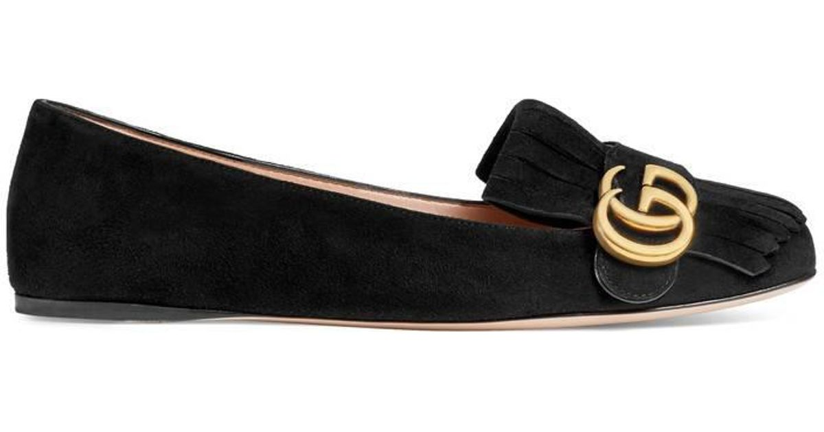 93e04f26693 Lyst - Gucci Suede Ballet Flat in Black