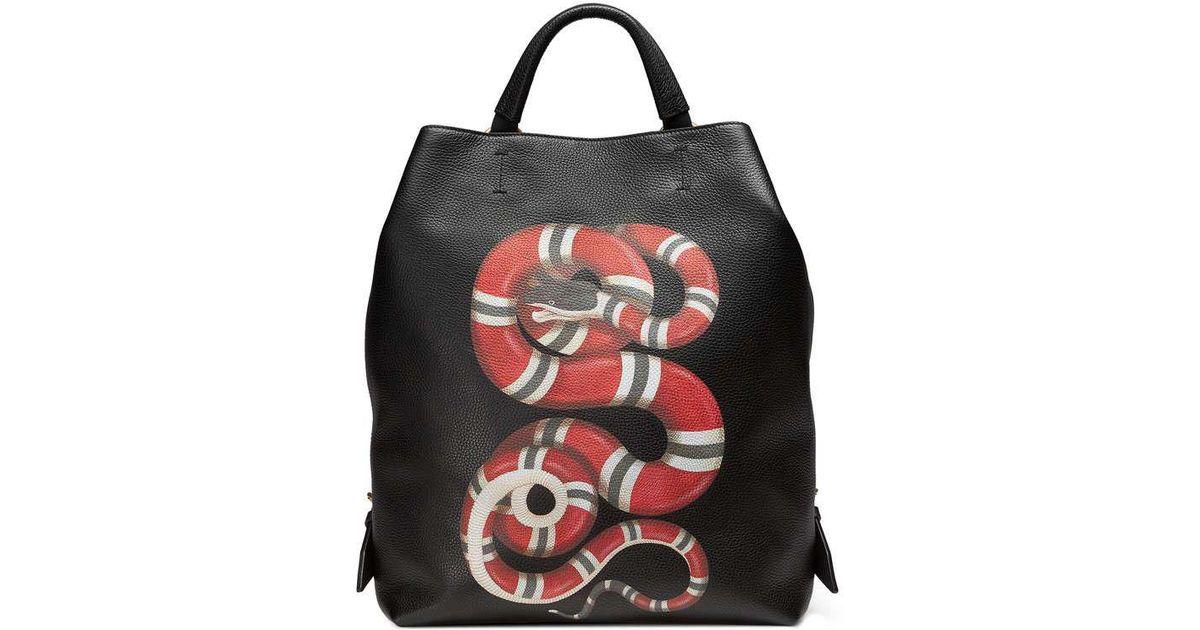 4723303ac11f Gucci Kingsnake Print Leather Backpack in Black for Men - Lyst