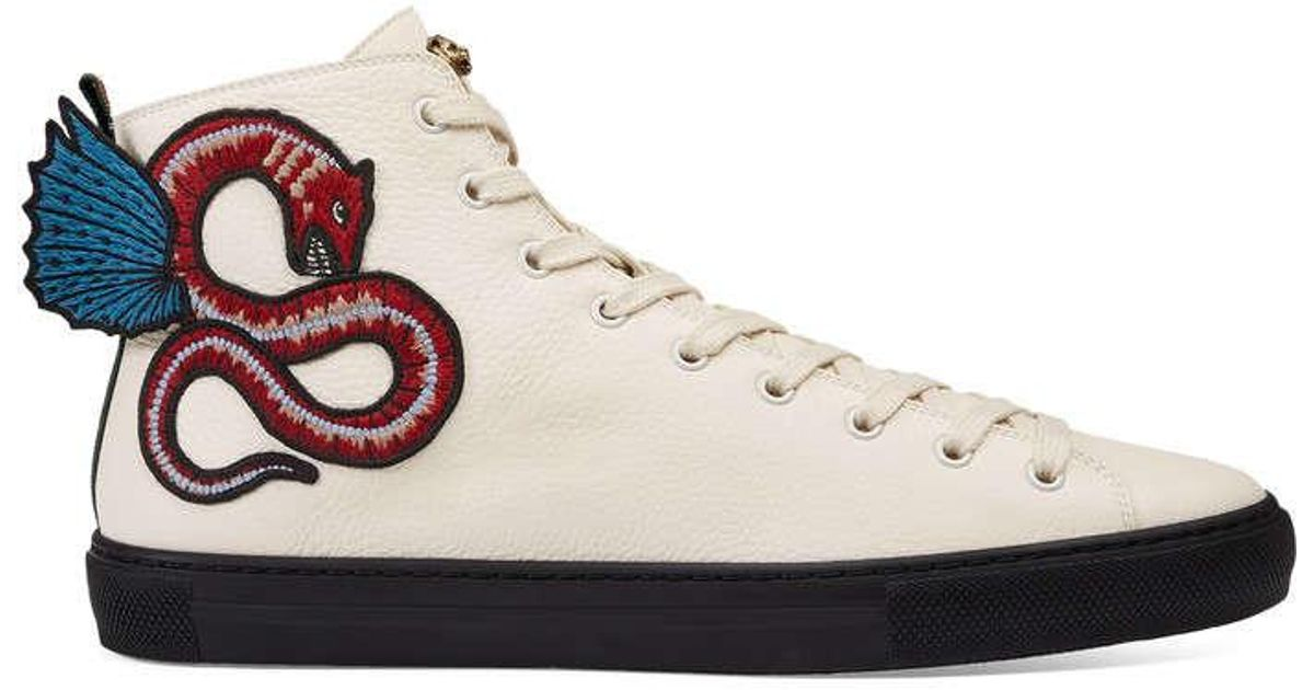 37d10d572cba Lyst - Gucci Leather High-top With Winged Dragon in White for Men