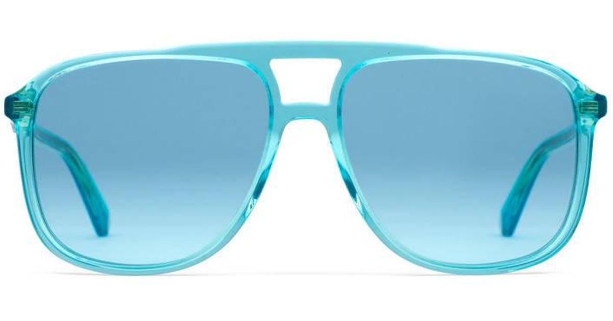 22ba7069eb Lunettes de soleil rectangulaires en acétate Gucci pour homme en coloris  Bleu - Lyst
