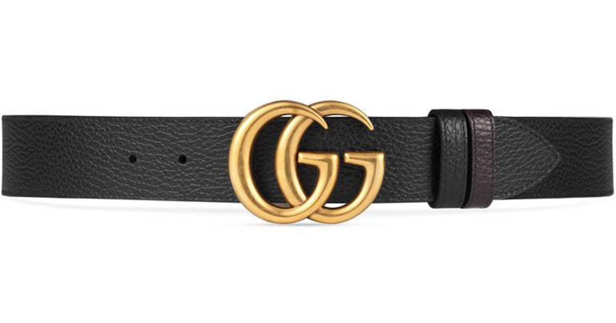 8a091875d1b8 Gucci Reversible Leather Belt With Double G Buckle in Black - Lyst