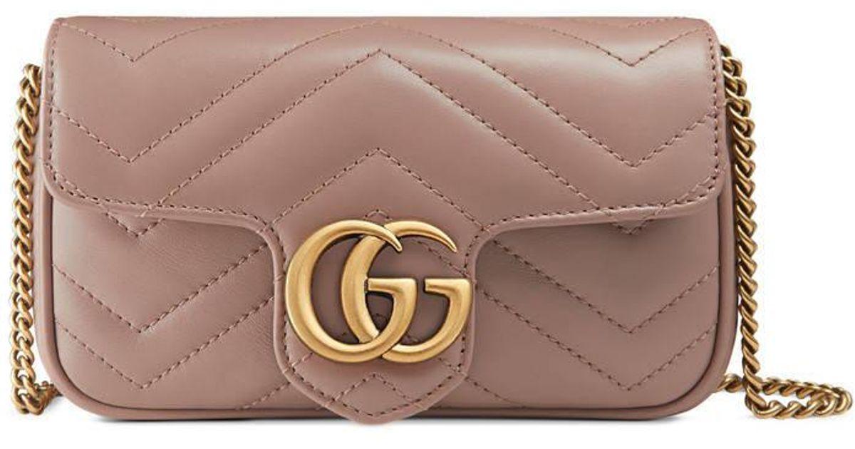 d1b2d99576b Gucci GG Marmont Matelassé Leather Super Mini Bag in Natural - Lyst