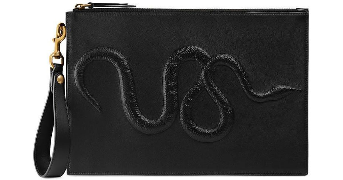 b0a0fa03d Gucci Snake Embossed Pouch in Black - Lyst