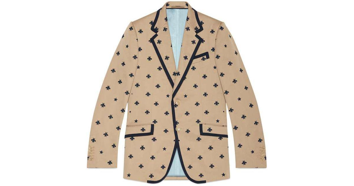 64e22bba2 Gucci Heritage Jacket With Bees And Stars in Natural for Men - Lyst