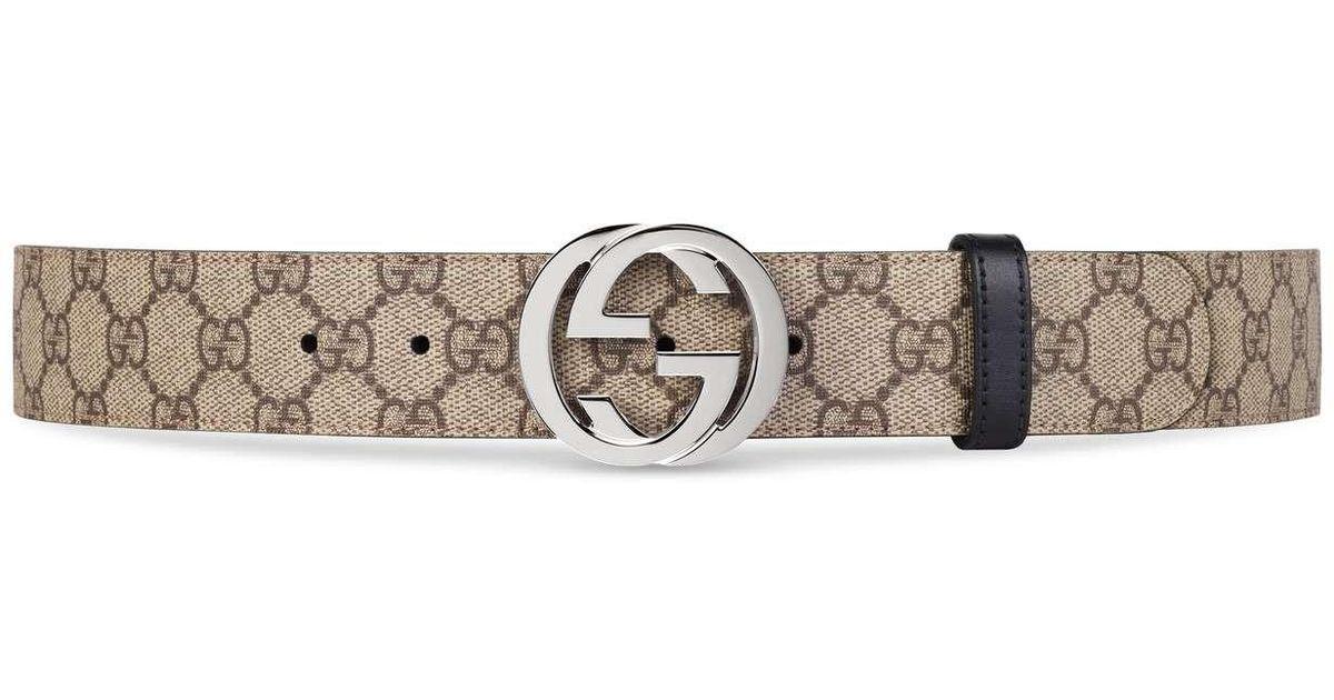 ba2015fd5dc Gucci Reversible GG Supreme Belt in Black for Men - Lyst