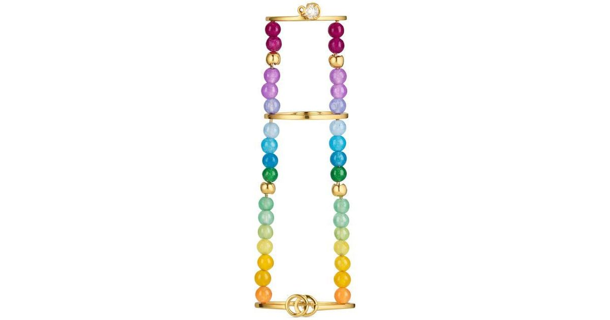 9ace8afb7 Lyst - Gucci Gg Running Chain Ring With Gemstones