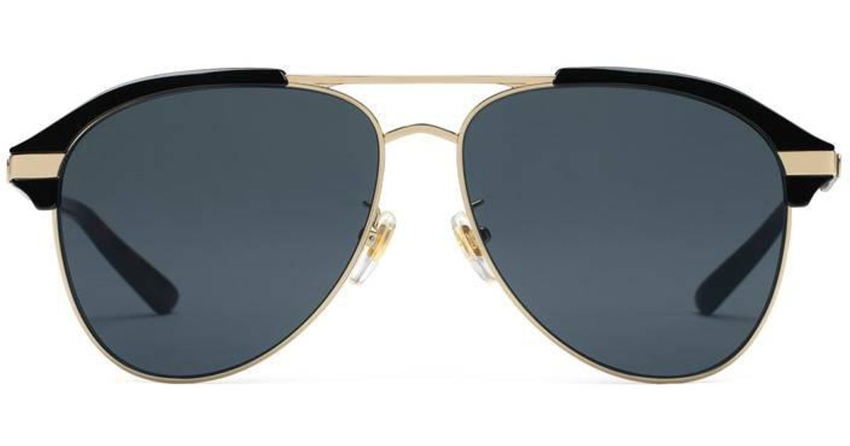 a2d5792363b Gucci Specialized Fit Aviator Metal Sunglasses in Black for Men - Lyst