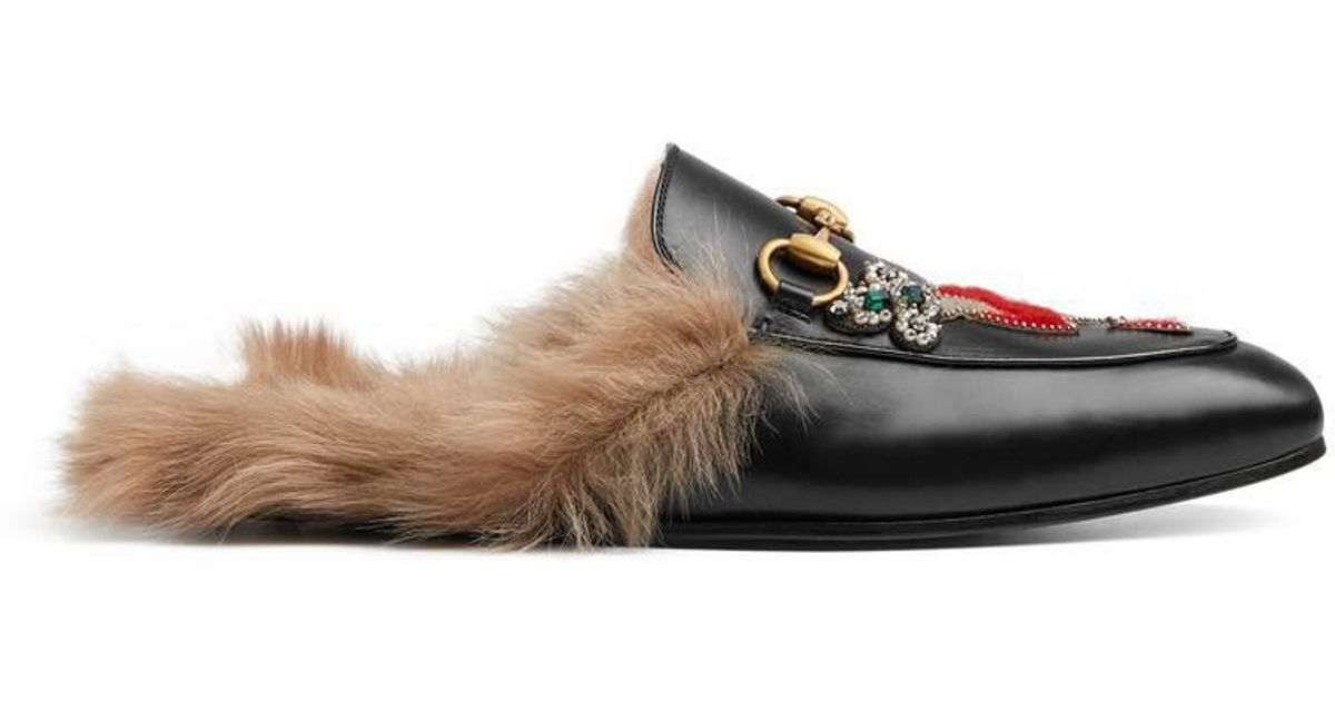27fc01e8f Gucci Princetown Slipper With Appliqués in Black for Men - Lyst