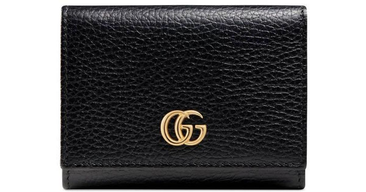 a7438ab8d7bb Gucci Gg Marmont Leather Wallet in Black - Lyst