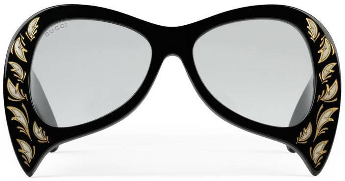 a706e7abf9 Lyst - Gucci Oversize Sunglasses With Mother Of Pearl Details in Black