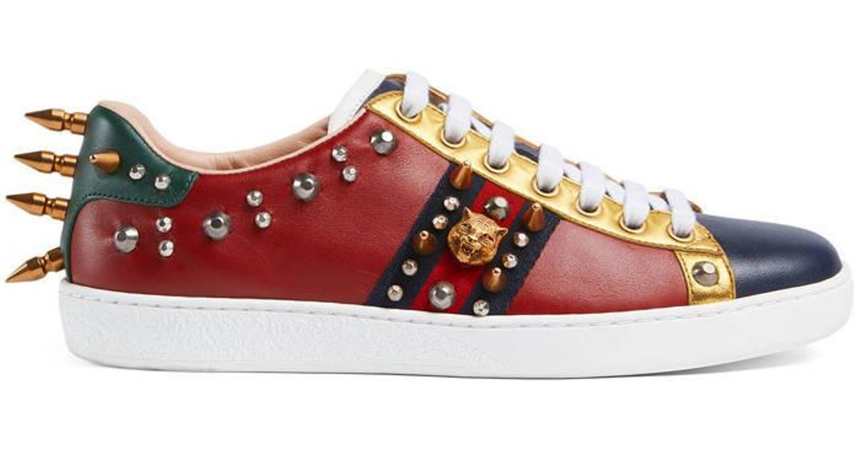 Gucci Ace Studded Leather Low-top Sneaker in Red - Lyst