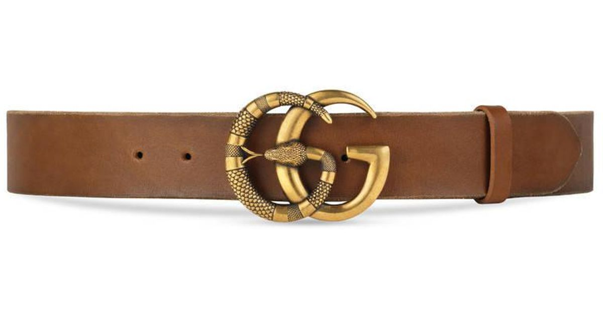 bb2aec6288c Gucci Leather Belt With Double G Buckle With Snake in Brown for Men - Lyst