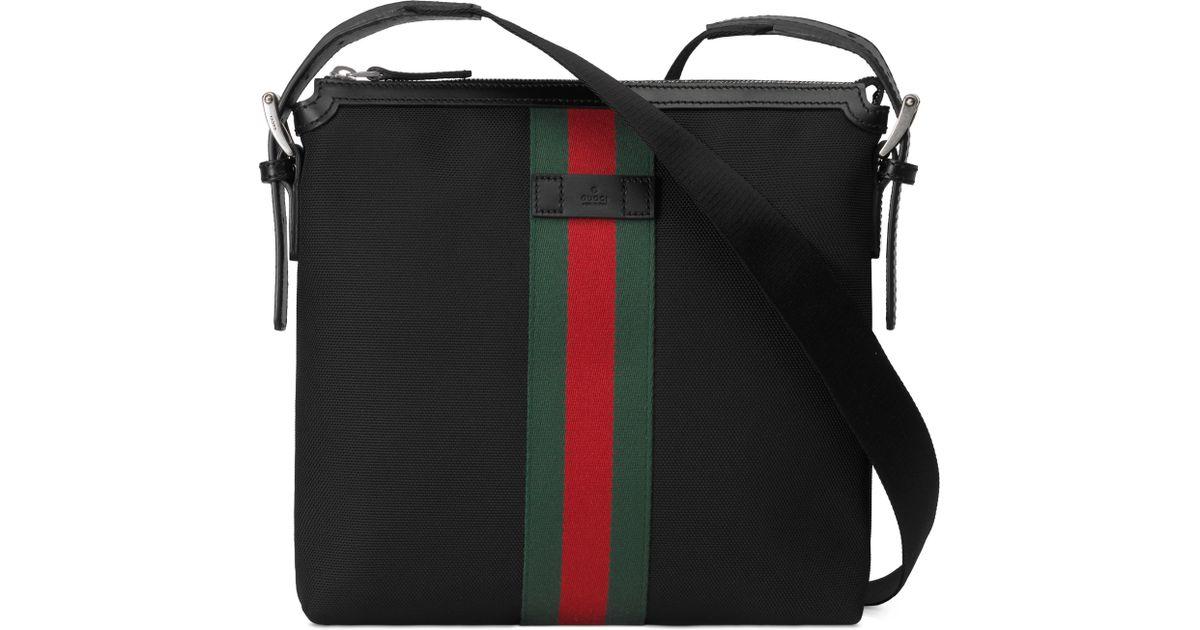 76a1a58f11f Lyst - Gucci Web Techno Canvas Small Messenger Bag Black for Men