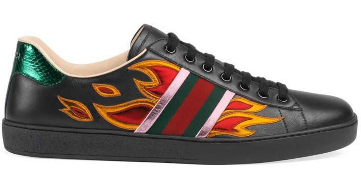 089e73f42d6 Lyst - Gucci Ace Low-top Sneaker With Flames in Black for Men