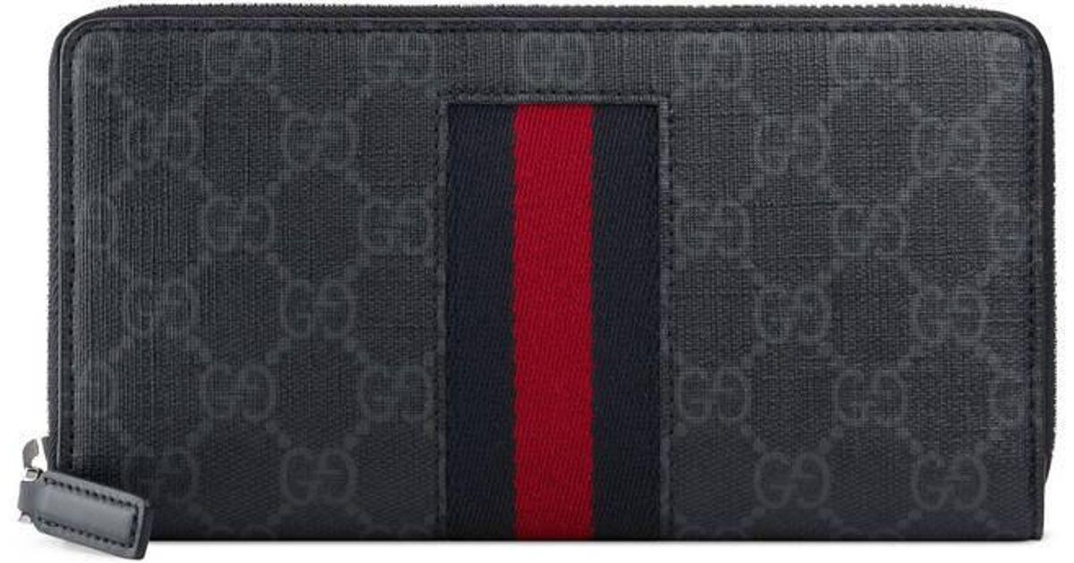 fc047631d101 Gucci Gg Supreme Web Zip Around Wallet in Gray - Lyst