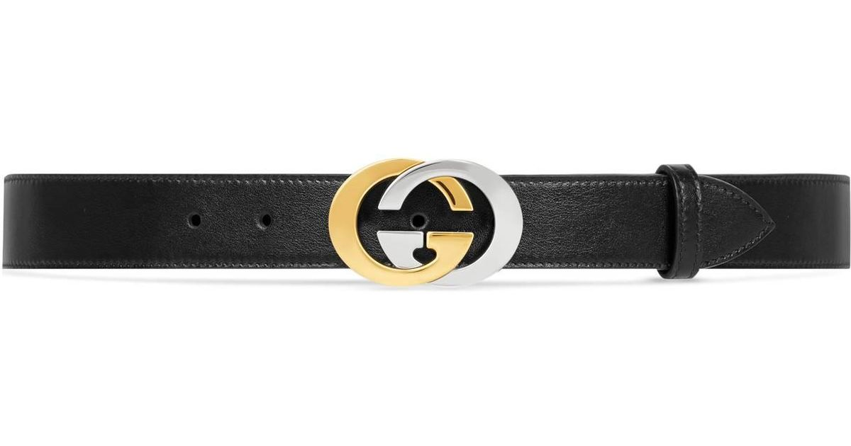 bada0a45b42 Lyst - Gucci Belt With Interlocking G Buckle in Black for Men