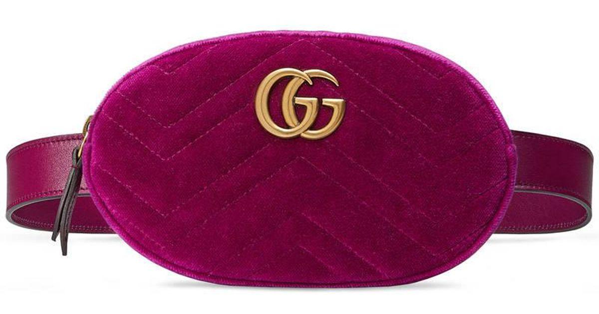 3633c8bccd632 Lyst - Gucci Gg Marmont Matelassé Velvet Belt Bag in Purple