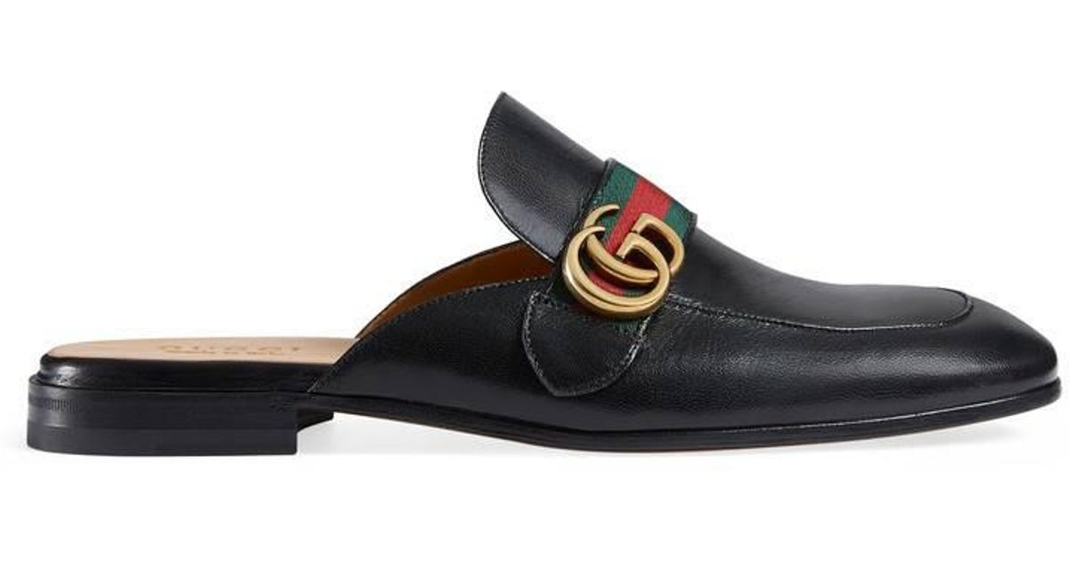 5c29684cc Lyst - Gucci Princetown Leather Slipper With Double G in Black for Men