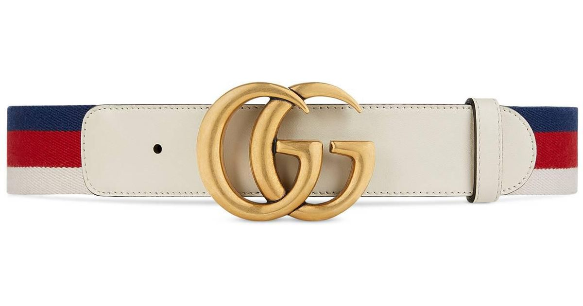 235d9da7b9b2 Lyst - Gucci Sylvie Web Belt With Double G Buckle in White