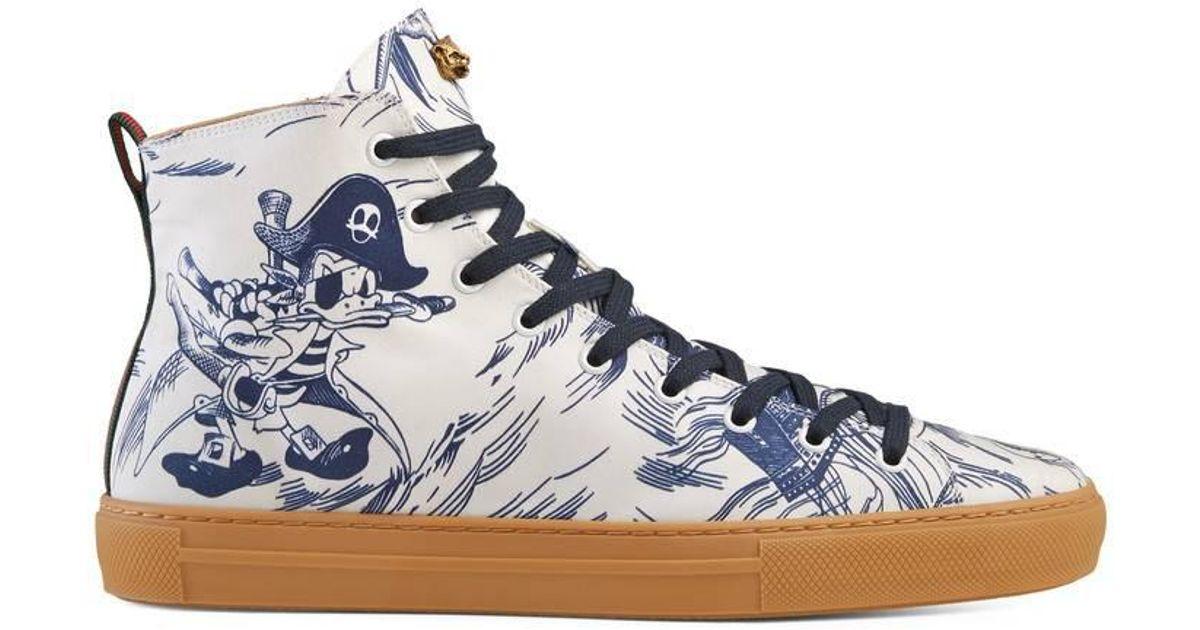 Lyst - Gucci Sea Storm Print High-top Sneaker in Blue d115c9bf53e