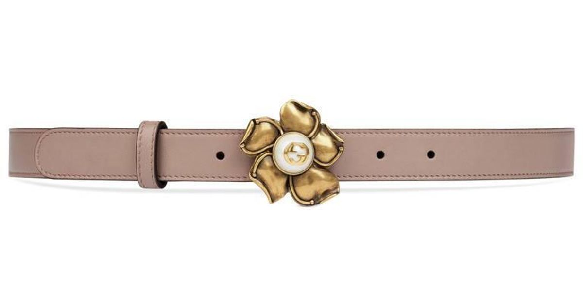 d92d4a035 Gucci Leather Belt With Metal Flower in Pink - Lyst