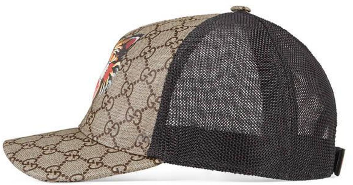 Lyst - Gucci Angry Cat Print Gg Supreme Baseball Hat in Natural for Men c8e65dc32349