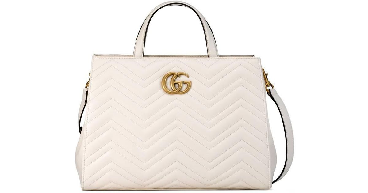 3f016ea1aa60 Lyst - Gucci Gg Marmont Matelassé Top Handle Bag in White
