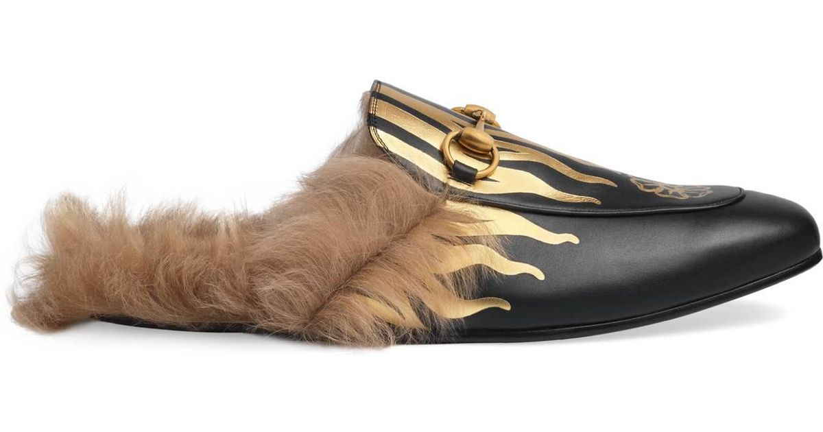 a04baaaabbe1 Lyst - Gucci Princetown Slipper With Flames in Black for Men
