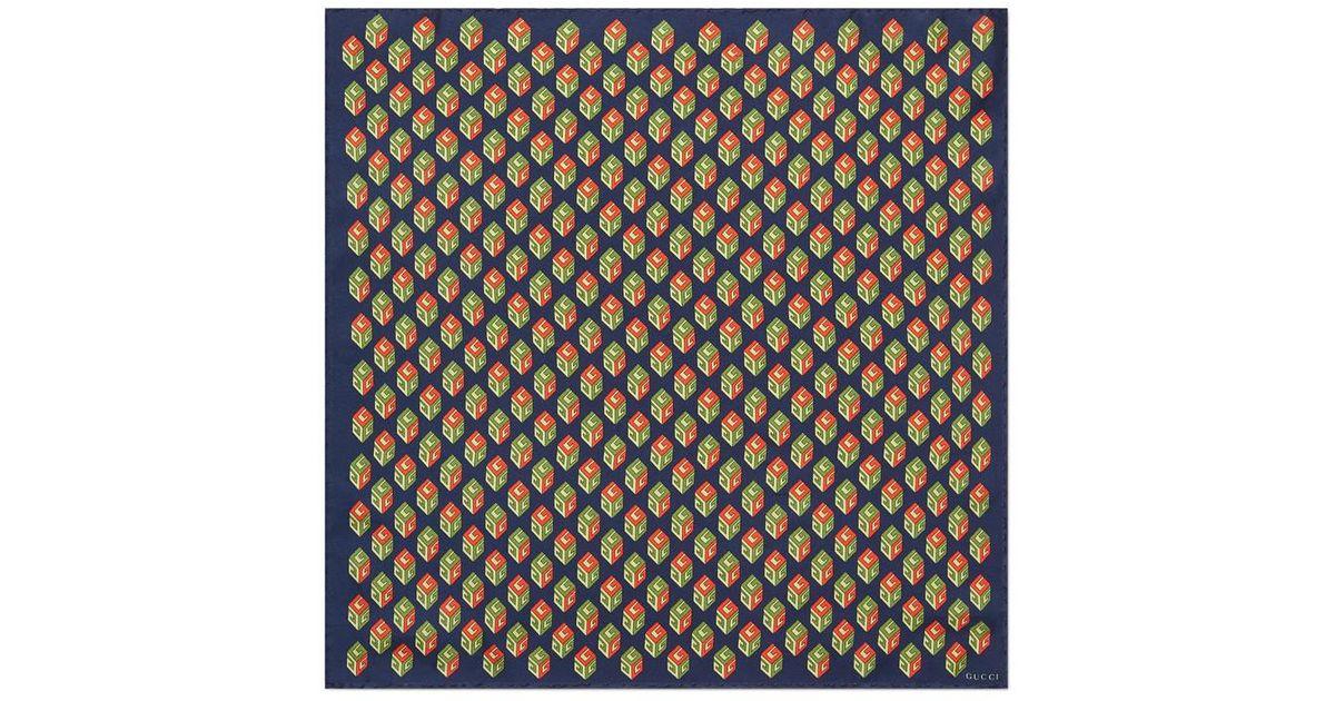 Lyst - Carré de soie pour pochette à imprimé GG Wallpaper Gucci pour homme efb03bc483b