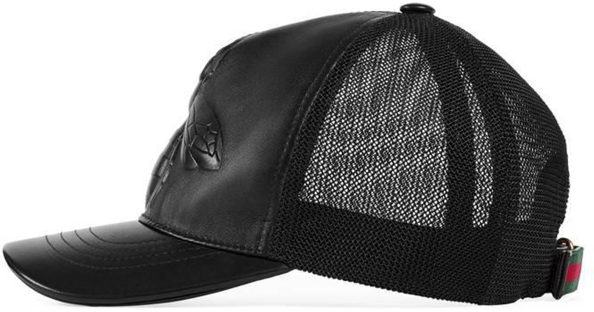 Lyst - Gucci Bee-embossed Leather Baseball Hat in Black for Men 8c9deeaafe6