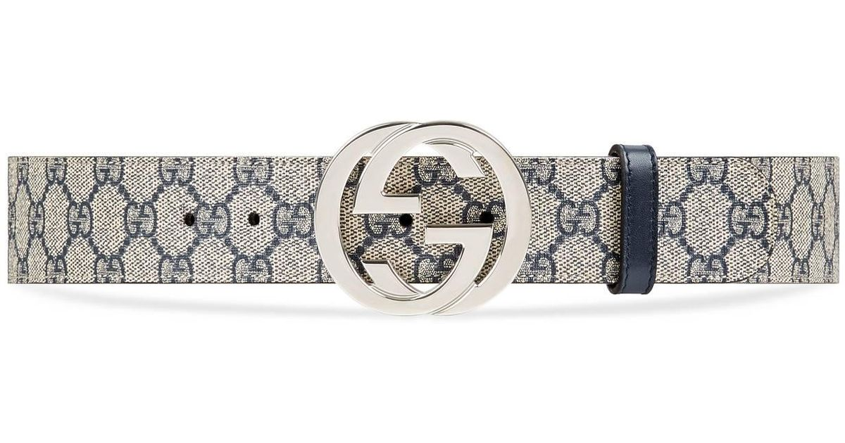 3a19d171ecd567 Gucci GG Supreme Belt With G Buckle in Blue for Men - Save 5% - Lyst