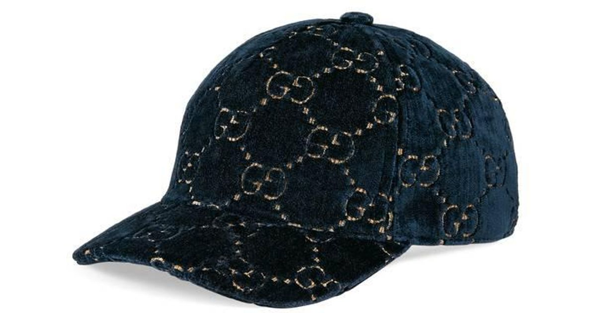 41e8de2c5e4 Lyst - Gucci GG Velvet Baseball Cap in Blue for Men