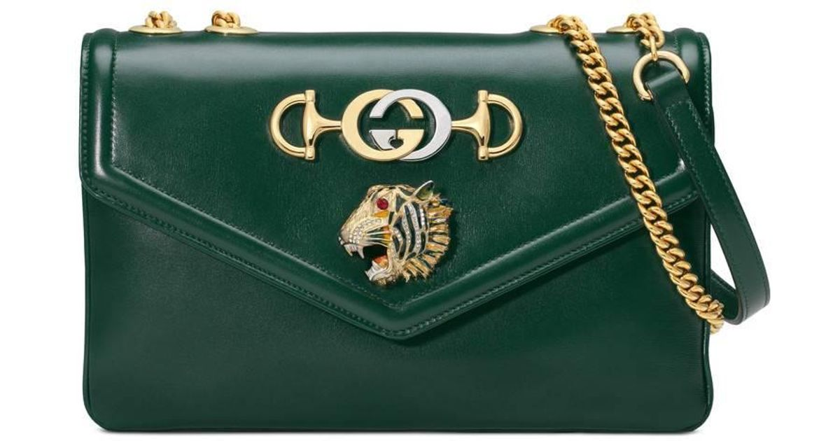 7546f21df8b Lyst - Gucci Rajah Small Embellished Leather Shoulder Bag in Green
