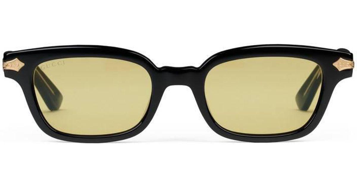 f241bc237ea Lyst - Gucci Rectangular-frame Acetate Sunglasses in Black for Men