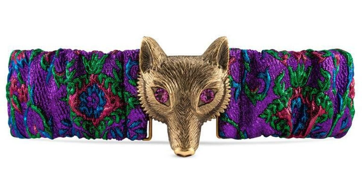 dc91ff267f0 Gucci Floral Jacquard Belt With Fox Buckle in Blue - Lyst