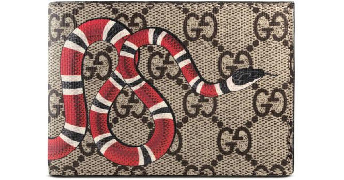ca6bb936352c Gucci Kingsnake Print Gg Supreme Wallet - Lyst