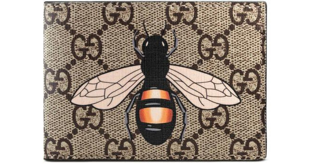 Unique Lyst - Gucci Bee Print Gg Supreme Wallet in Natural SB91