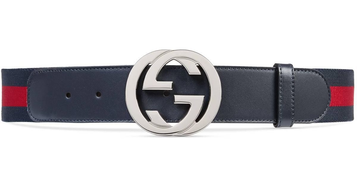 bf53a8e78d6 Lyst - Gucci Web Belt With G Buckle in Blue for Men - Save 14%