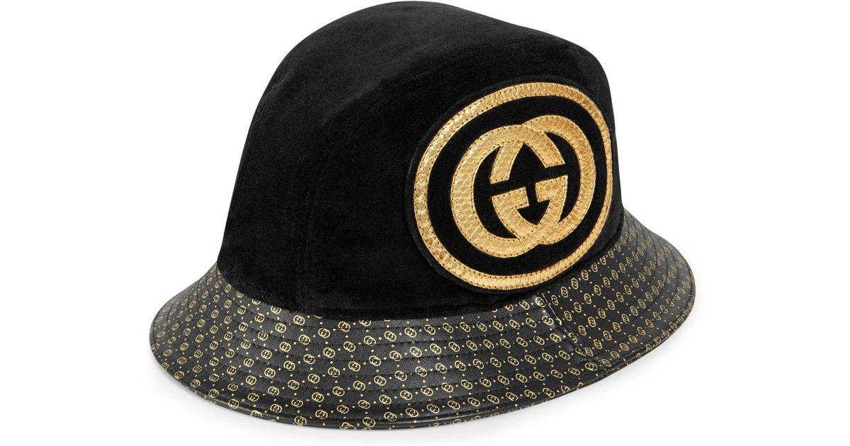 8bf4aafaab562 Gucci -dapper Dan Gg Leather Hat in Black - Lyst