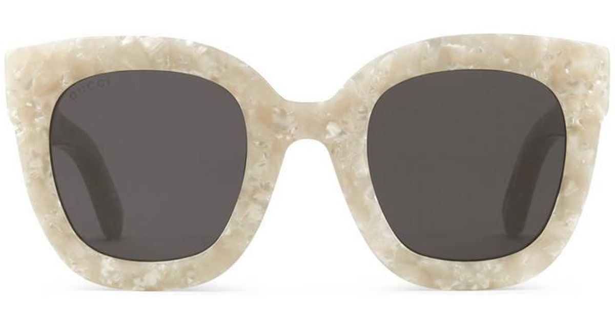 01244de246 Lyst - Gucci Round-frame Acetate Sunglasses With Star in White