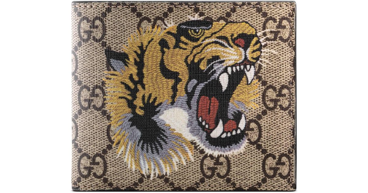 9aa54f2b879 Gucci Tiger Print GG Supreme Wallet for Men - Lyst