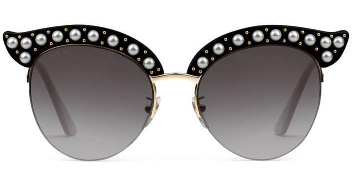 e86327ff8a6 Lyst - Gucci Cat Eye Acetate Sunglasses With Pearls in Black