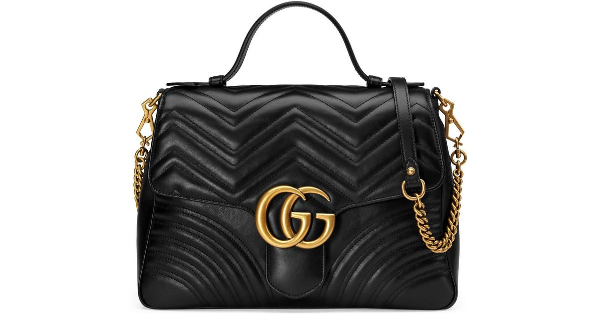 541271a29b2c Gucci GG Marmont Medium Top Handle Bag in Black - Save 26% - Lyst